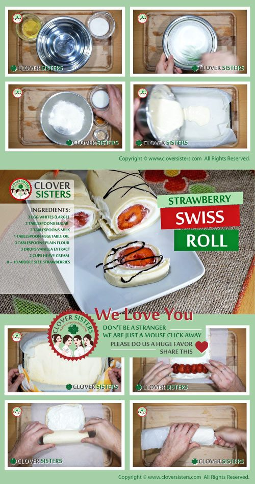 strawberry Swiss roll cake recipe
